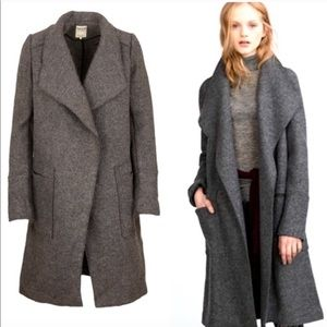 Zara Coat Palton Fiona Dark Grey waterfall lapel